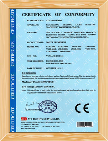 index-CE-certificate-RO-water-treatment